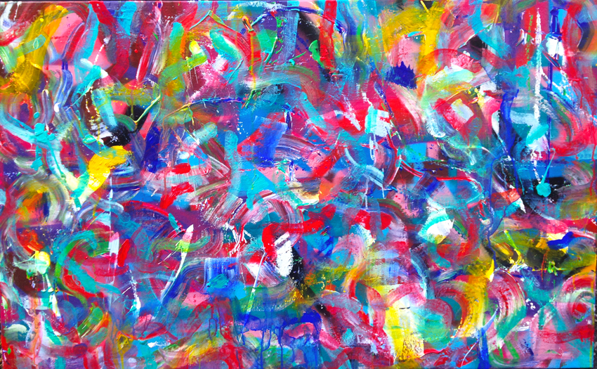 Acrylique / aérosol 116x81 - publication jour de la disparition de D.BOWIE - ColorsStar now